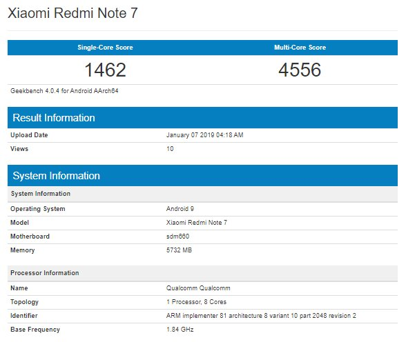 گوشی Redmi Note 7 در بنچمارک Geekbench مشاهده شد